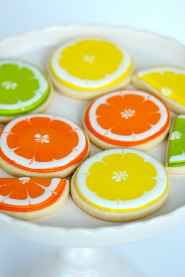 naranja, lima limón galletas decoradas,  tutorial
