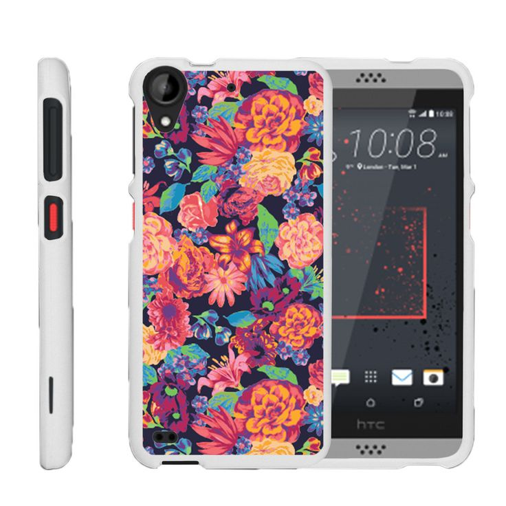 HTC Desire 530 Case SNAP SHELL White 3 IN 1- Slim Hard Fitted Case - Floral Dream