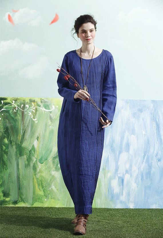 Maxi Dress In Blue Long Linen Dress Pleated Dress Tunic