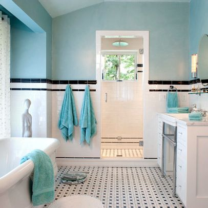 Black White Teal Room Ideas Bathroom