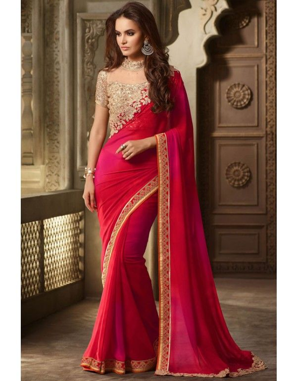 Lush Rust Red and Rani Pink Saree with #Designer Blouse …