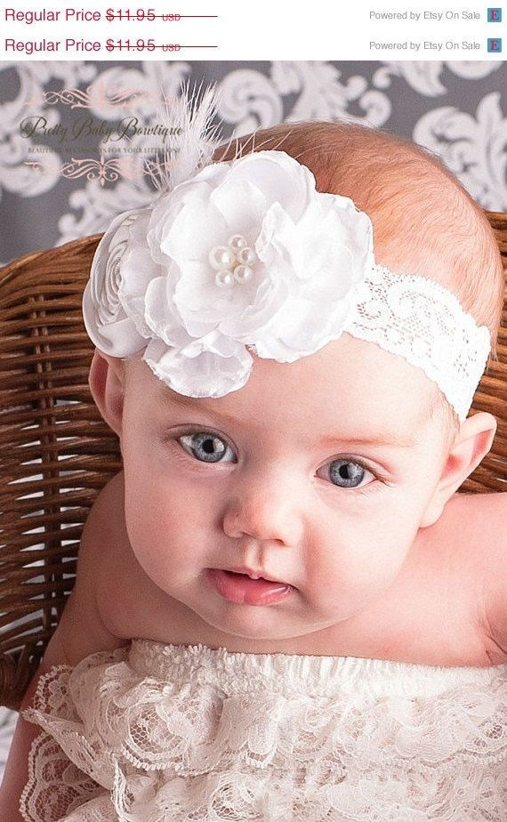 SALE Christening Baby Headband - White Christening Headband With Lace and Feathers - Baptism Headband - Blessing Headband