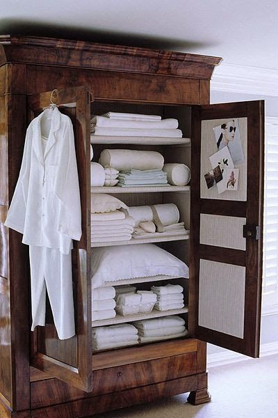 Gorgeous piece for linen closet..we only use all white linens like this including robes.. So luxe