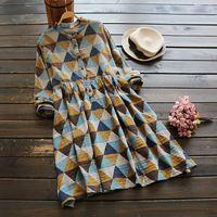 Новый 2016 Женщин Среднего Талии Печати Dress Мода Стенд Воротник Геометрическая Print Dress