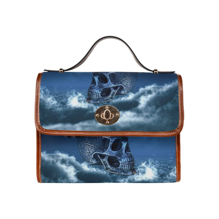 Skull and Moon Waterproof Canvas Bag/All Over Print (Model 1641)
