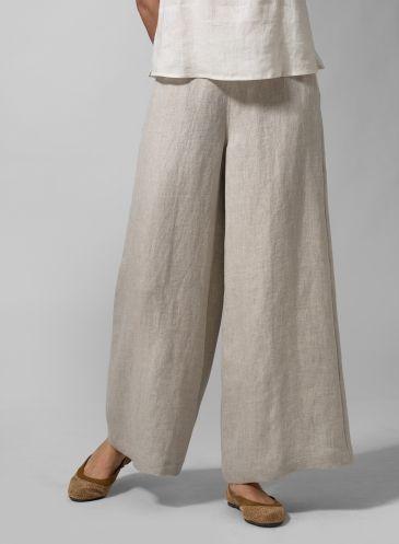 (Tall Size) Heavy Linen Wide Leg Long Pants Two Tone Oat