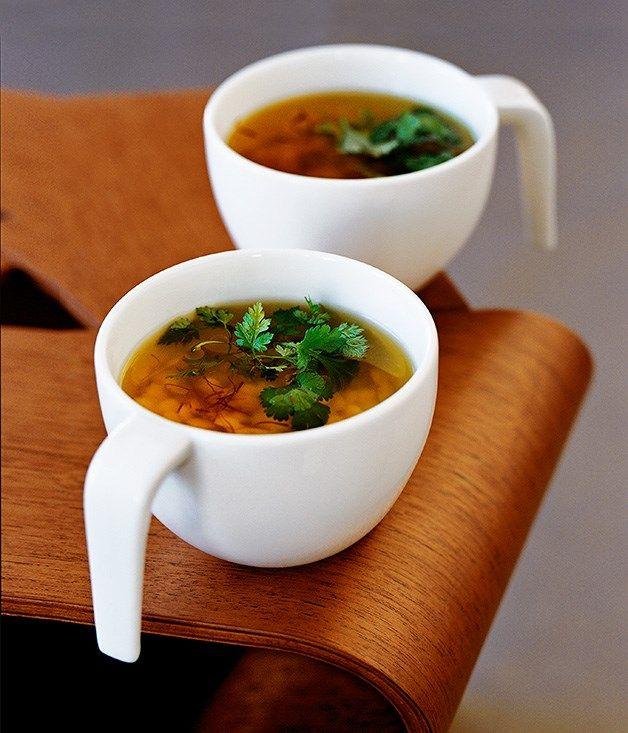 Saffron chicken broth with stellini recipe | Soup recipe |  #Italian #Entree #Winter #Saffron #Fast #Soup #Coriander #Pasta #Chervil