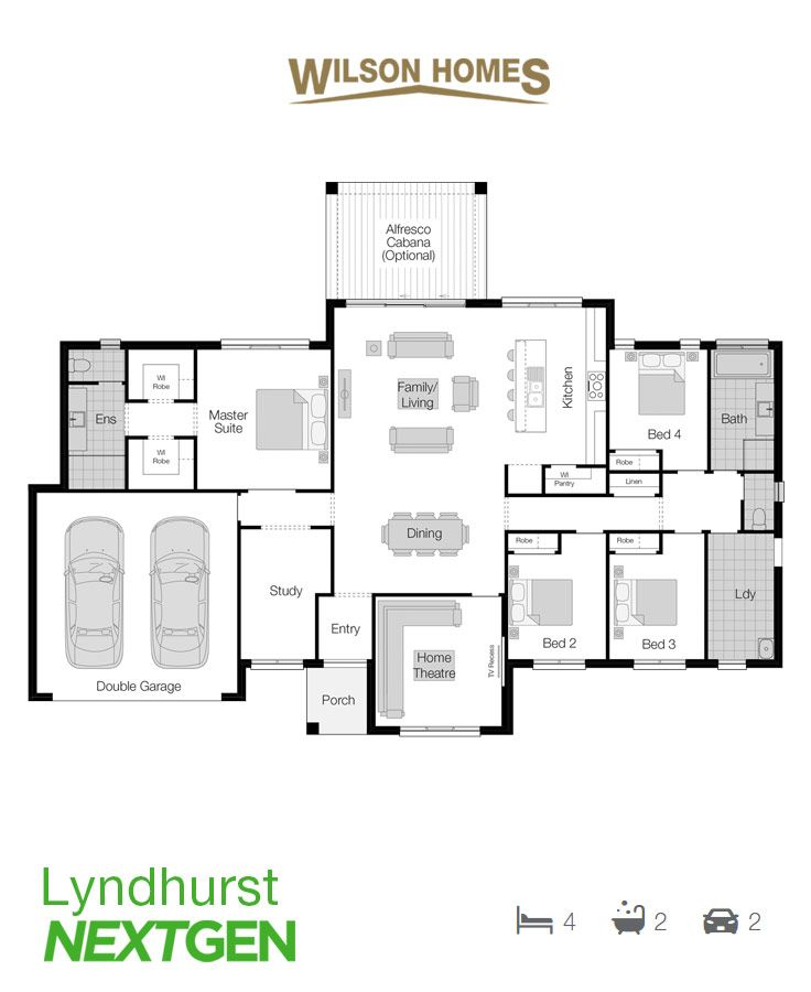 Lyndhurst Floor Plan by Wilson Homes - NextGen Range - Offering a balanced and well considered layout, the Lyndhurst provides the ideal platform to enjoy modern living, every day. View this design at http://www.wilsonhomes.com.au/home-design/lyndhurst #acreagehome #wilsonhomes