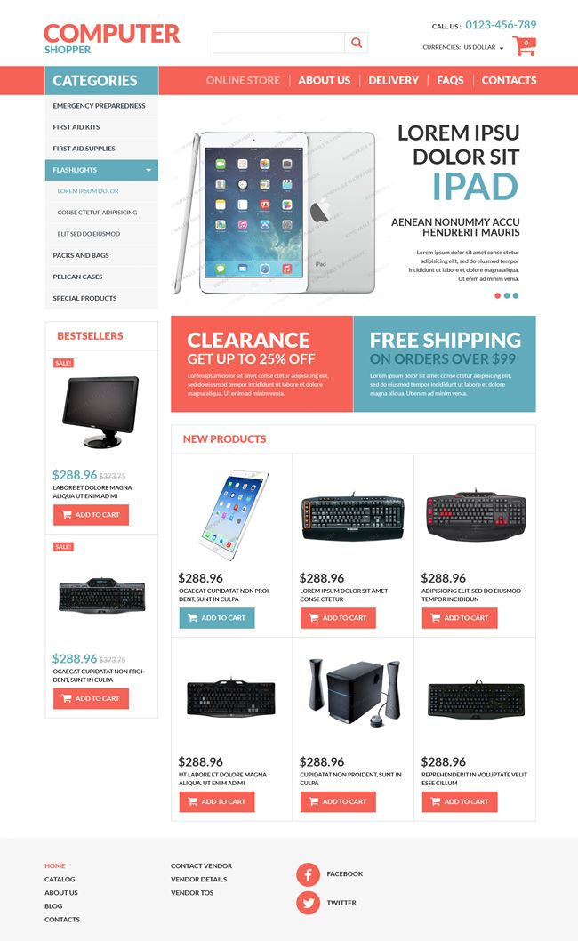 Website: VirtueMart Computer Store Template Business (PSD, JOOMLA, HTML5, CSS3, JS)