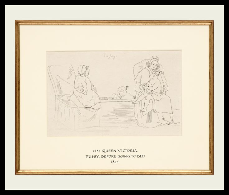 HM Queen Victoria | Pussy, Before Going to Bed, 1844 | Etching | 46 x 61 cm