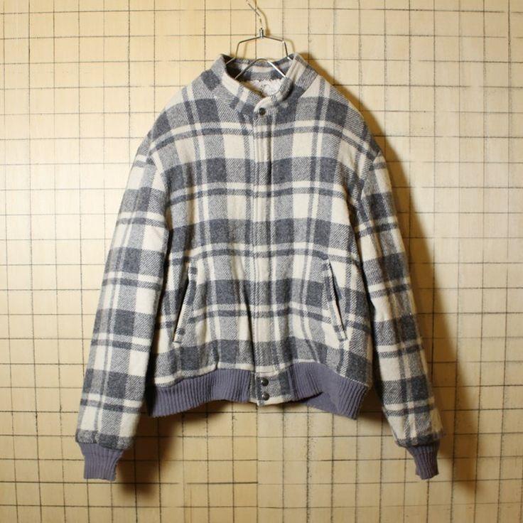 USA製 80s 古着 Woolrich チェック柄 裏ボア ウールジャケット メンズL グレー ホワイト ウールリッチ