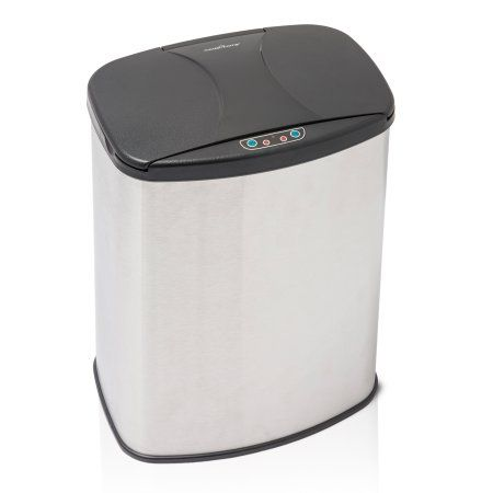 Brushed Stainless Steel Motion Activated Touch-Free Sensor Trashcan, 4 Gal, Silver