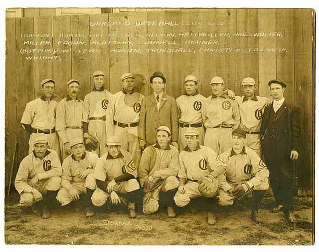 Oakland Baseball Club (1908) via Dick Dobbins collection on the Pacific Coast League, courtesy, California Historical Society, MSP4031.008.