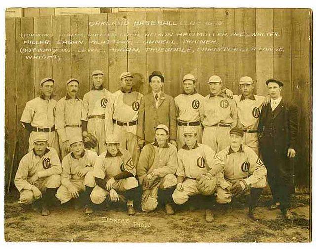 Oakland Baseball Club (1908) via Dick Dobbins collection on the Pacific Coast League, courtesy, California Historical Society, MSP4031.008.