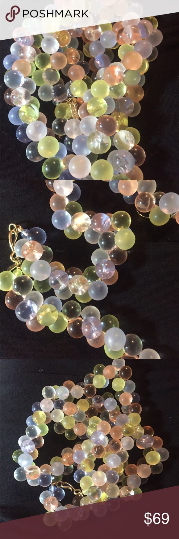 "VTG Runway Monet wisteria pastel bubble19"" necklac This 19"" pastel dense lucite beaded money necklace is beautiful! It definitely makes a statement!! It is a fun piece and can be worn for many different occasions!! monet Jewelry Necklaces"