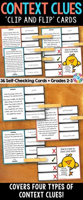 Context Clues 'Clip and Flip' Cards contains 36 self-correcting cards to help students practice determining the meaning of unknown words in context. These cards cover four common types of context clues: definition, antonym, synonym, inference.