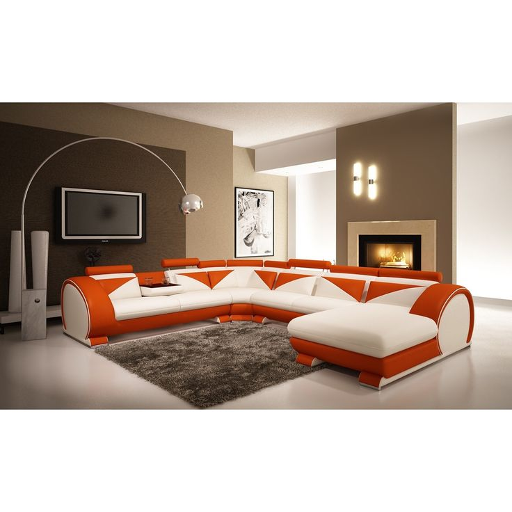 Divani Casa 7395 Modern White and Orange Leather Sectional Sofa with Headrests