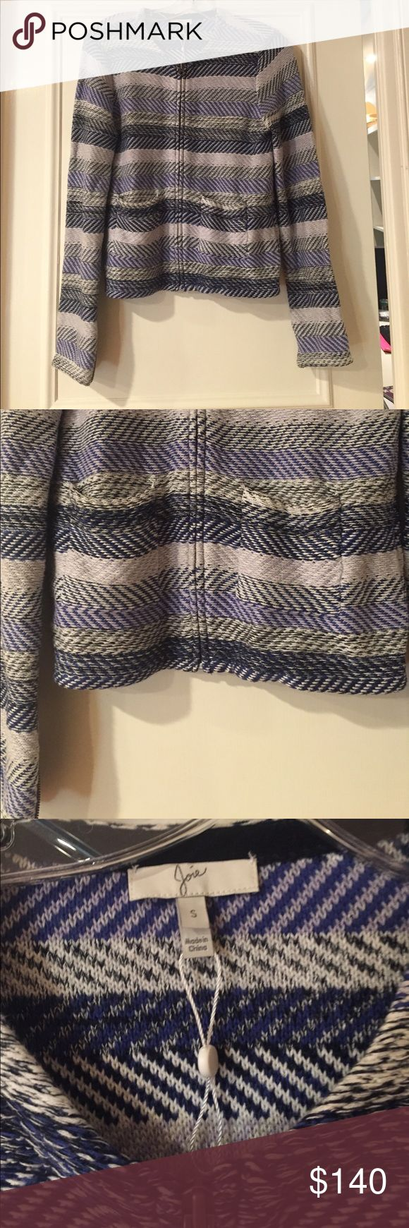 Joie NWOT Blue Striped Zip Cotton Sweater You have to feel how soft and comfy this is in real life. Center zip up closure with zipper detail on sleeves. Size small, never worn. Joie Sweaters