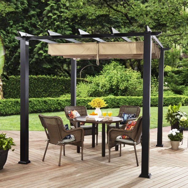 Better Homes Gardens Meritmoor 9 X 9 Steel Pergola Black Walmart Com In 2020 Pergola Diy Pergola Backyard Pergola