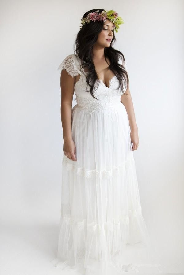 Garden Wedding Dresses Plus Size: Bohemian Wedding Dresses Plus Size A Line Bridal Gowns Vintage    ,