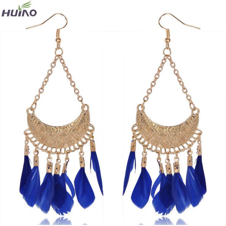 Black,Red,Green,Blue Feather Tassel Fine Jewelry Earrings For Women