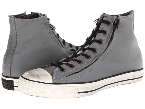 Converse Chuck Taylor® All Star® Double Zip Leather Hi Charcoal Gray - 6pm.com