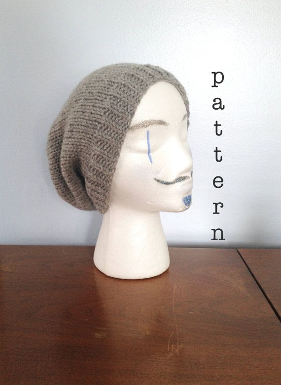 knit men's slouchy hipster beanie pattern - knitting patterns