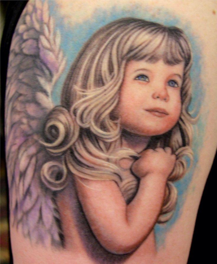 30 Beautiful Angel Tattoos For Girls: Beautiful Blonde Girl Toddler Angel Tattoo