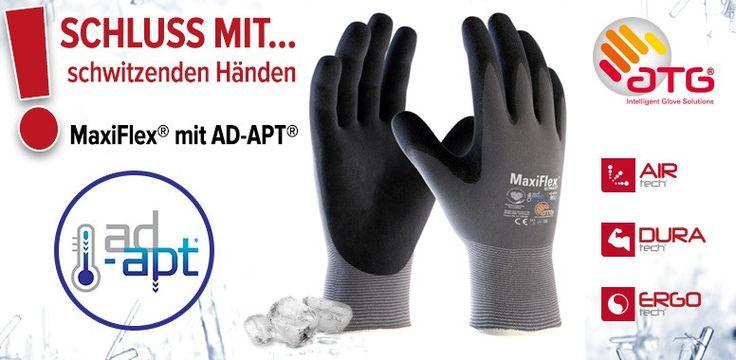 MaxiFlex® mit AD-APT | Arbeitsschutz-Express AD-APT® - Technologie - damit warme und schwitzige Hände trocken bleiben. MaxiFlex® mit AD-APT® sorgt für 31% weniger Schwitzen als bei anderen Arbeitshandschuhen.