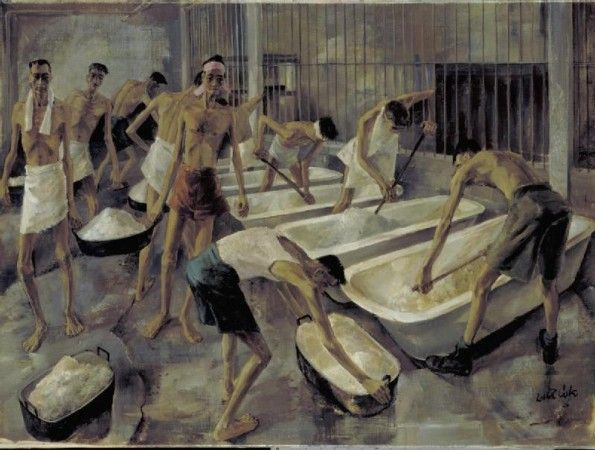 AUG 26 1943 Barbaric Japanese punishment for PoWs seeking food Singapore: The cookhouse, Changi Gaol. British POW's prepare their main meal of rice. Leslie Cole, 1945.