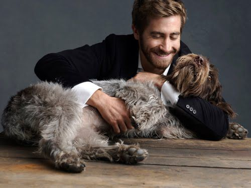 Jake Gyllenhaal (this doesn't look like a German Shepherd or a Puggle so not sure who this friend is)