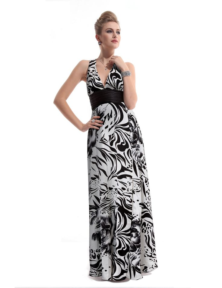 Black White V-Neck Cross Back Empire Waist Printed Satin Resort Evening Dress