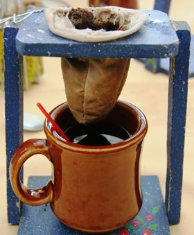 How to make Coffee the Costa Rican way. Thank you, Jime, for my very own traditional 'coffee maker'!