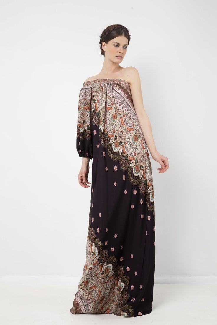 Εμπριμέ μάξι φόρεμα με ένα μανίκι