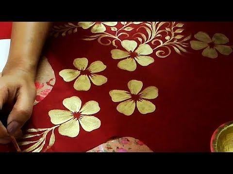 db5cca335d12d onvert Plain Dress into Designer Wear | Golden Painting on Fabric ...