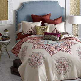 """Bring a touch of bohemian charm to your master suite or guest room with this eye-catching cotton sateen duvet set, showcasing a star-shaped medallion motif in a rich multicolor palette.  Product: Full/Queen: 1 Duvet and 2 shamsKing: 1 Duvet and 2 shamsConstruction Material: Cotton Color: Gulf blue, merlot, coral, golden amber and khakiFeatures:  300 Thread countButton duvet closureZippered sham closures Medallion motifDimensions: Standard Sham: 20"""" x 26"""" eachFull/Queen Duvet: 90"""" x 95""""King…"""