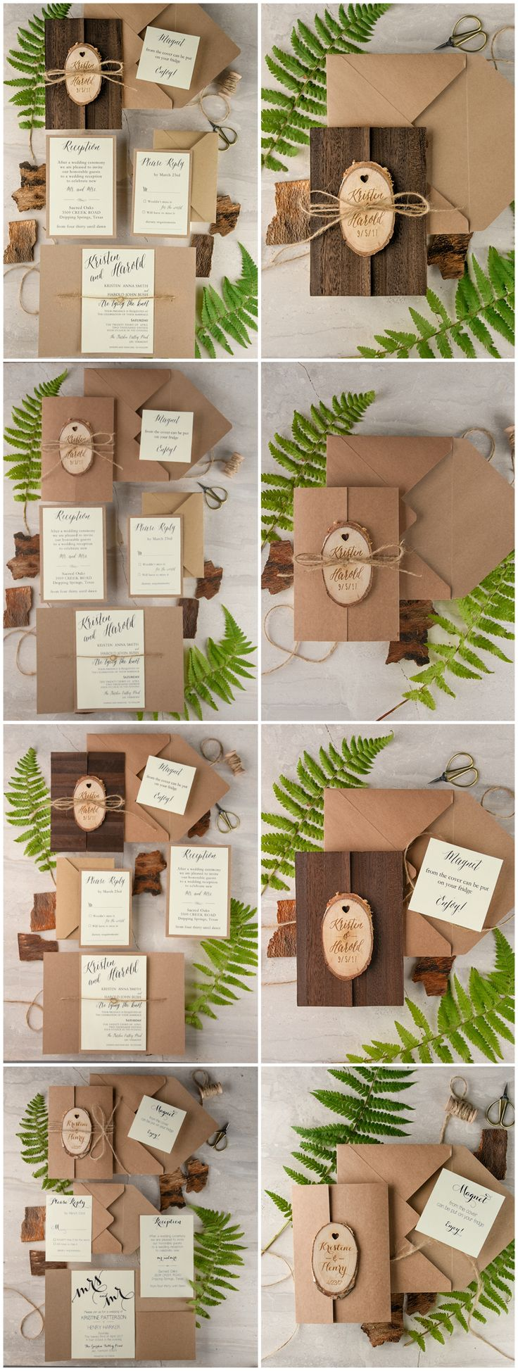 Wooden Wedding Invitations with magnets 29 best