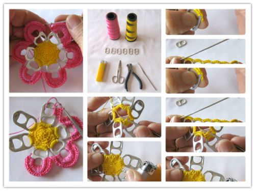 craft ideas step by step instructions how to pretty flowers with recycle can pull tabs step 7614