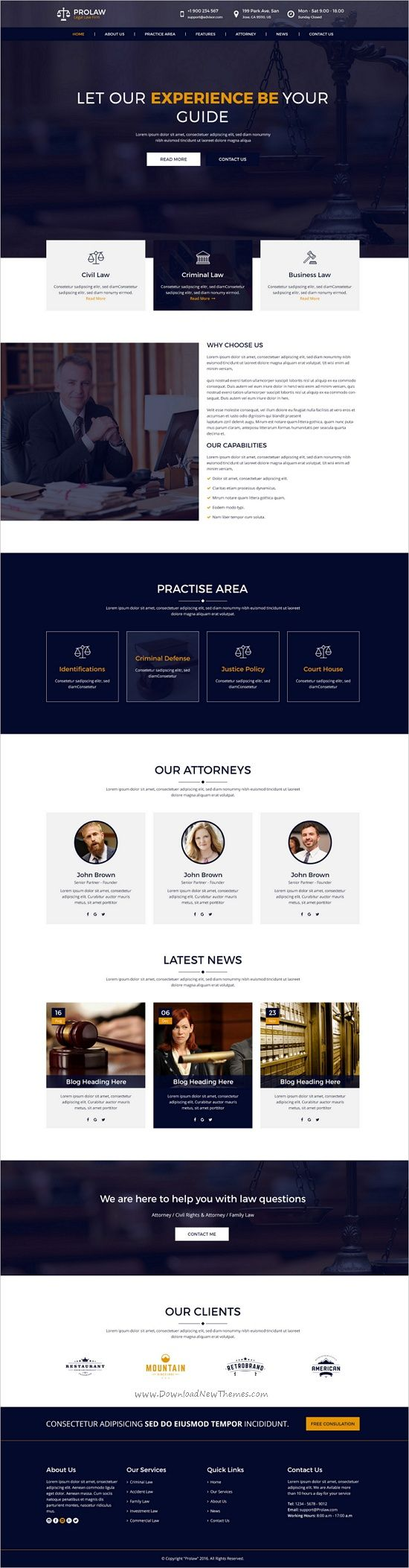 Best 25 law firm website ideas on pinterest law web lawyer prolaw legal law firm attorney psd templates pronofoot35fo Choice Image