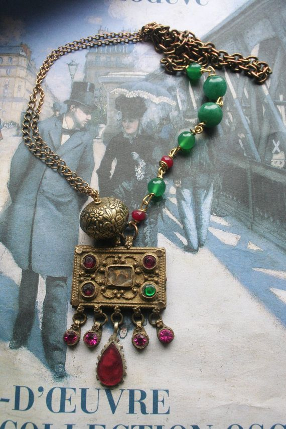Assemblage necklace Vintage Assemblage Upcycled by IRISHTREASURE
