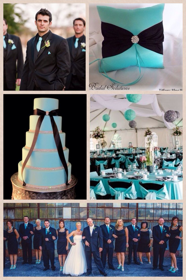 Black and Tiffany blue wedding.  This would be good classic colours for a wedding with a pop of colour.