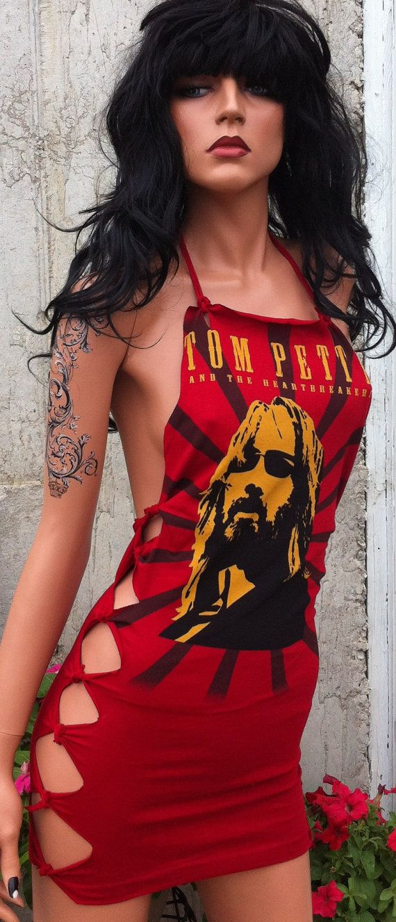 Tom Petty Shredded Mini Dress or Shirt by TShreds on Etsy, $40.00
