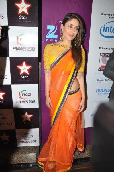 Kareena Looks Gorgeous in Orange Saree @ Navel Show