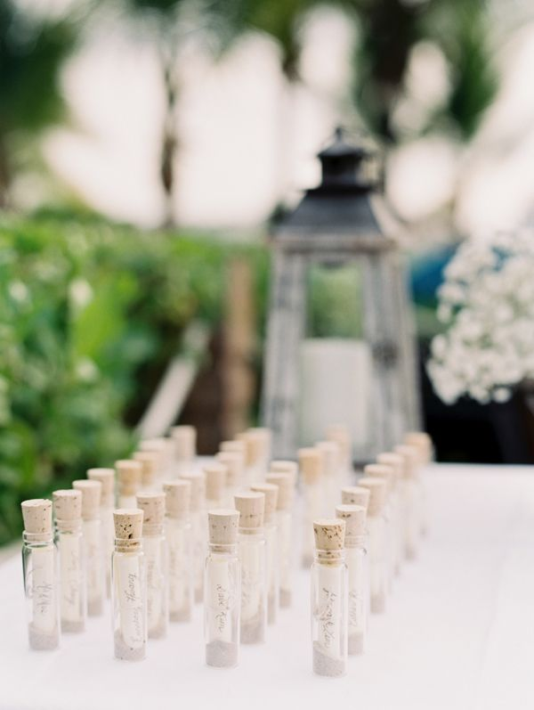 Message in a bottle escort cards | Turks & Caicos Beach Wedding | Sarah Joelle Photography