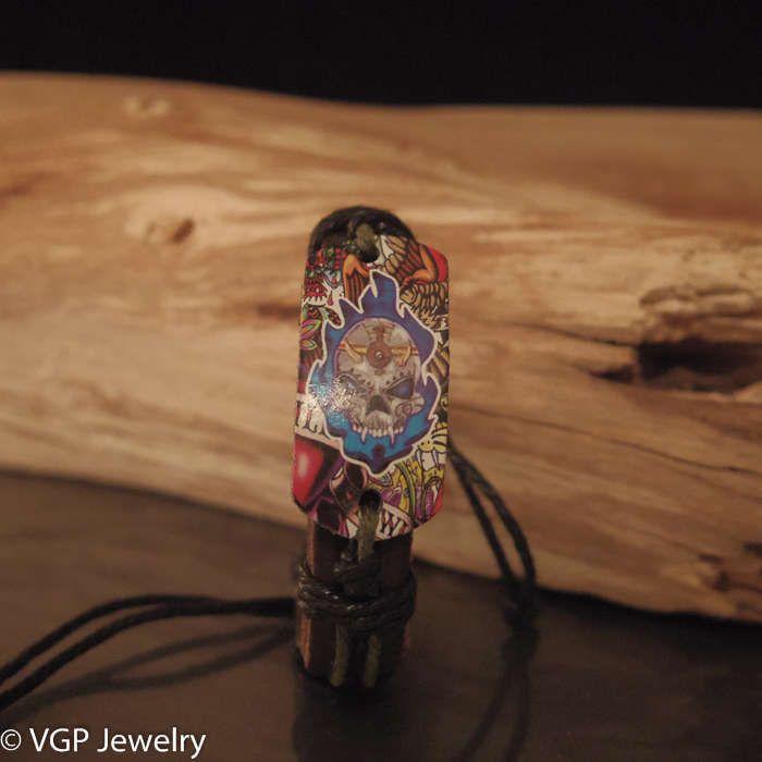 Stoere Mexicaanse Schedel Armband: leren armband bruin