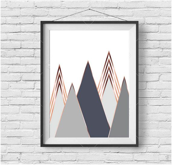 Gray Mountain Art Scandinavian Print Copper Wall Art Rose Gold Print Rose Gold…