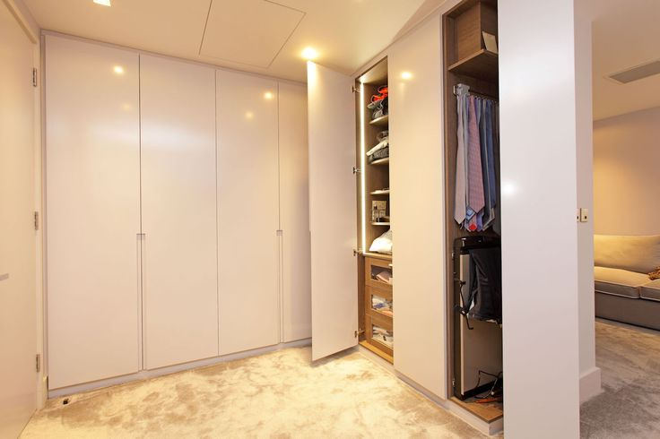 Contemporary wardrobes with space for trouser press