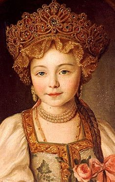 Russian costume in painting. Unknown artist. Portrait of Grand Duchess Alexandra Pavlovna in Russian Costume. Detail. Circa 1790 - 1800. Alexandra Pavlovna was a beloved granddaughter of Russian Empress Catherine the Great.
