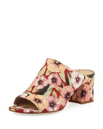 Ellis+Basic+Floral+Lizard+Mule,+Orange/Red+by+Donald+J+Pliner+at+Neiman+Marcus.