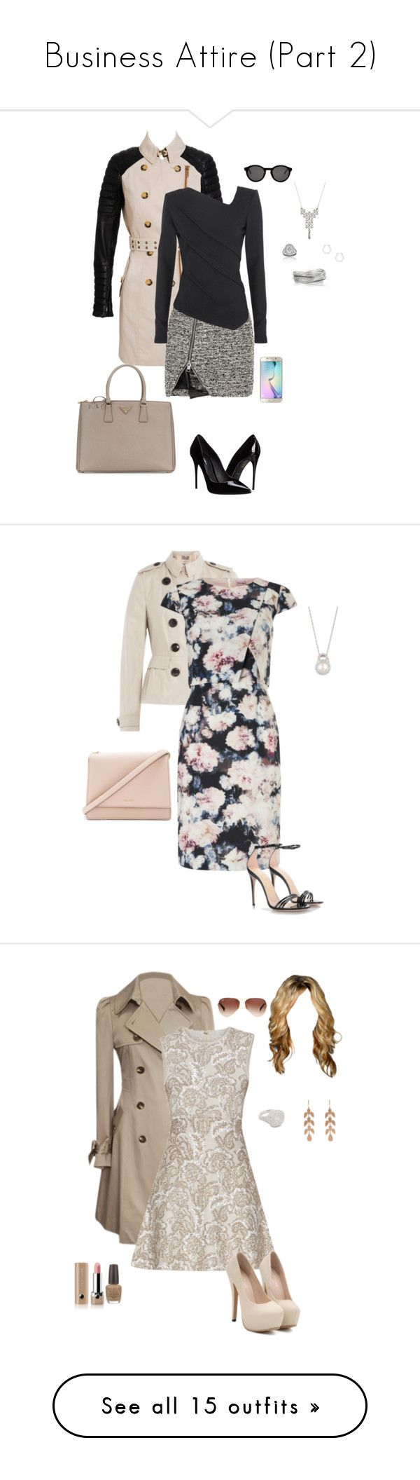 """""""Business Attire (Part 2)"""" by gone-girl ❤ liked on Polyvore featuring Burberry, Bouchra Jarrar, Donna Karan, COOMI, Dolce&Gabbana, Thierry Lasry, Prada, Samsung, Marc by Marc Jacobs and Phase Eight"""